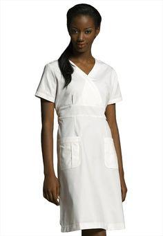 Click Image Above To Purchase: White Cross Mock-wrap Scrub Dress. Dress Skirt, Wrap Dress, White Scrubs, Pinning Ceremony, Medical Scrubs, Nursing Scrubs, Medical Uniforms, Nursing Clothes, White Crosses