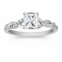 Swirl Diamond 14k White Gold Engagement Ring with Radiant Diamond