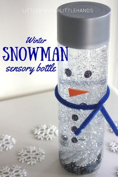 Add glue to water to increase viscosity! Snowman sensory bottle or melting snowman activity