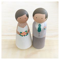 Custom Wedding Cake Toppers // handpainted cake toppers, custom bride and groom, whimsical wedding decor, wooden people, custom cake toppers by kenziecardco on Etsy https://www.etsy.com/ca/listing/265764998/custom-wedding-cake-toppers-handpainted