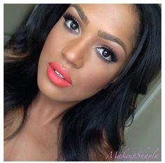 Eye make up Subtle Makeup, Love Makeup, Natural Makeup, Beauty Makeup, Makeup Looks, Hair Makeup, Hair Beauty, Coral Hair, Coral Lips