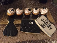 Wow!! Just look at these stylish cokies and cupcake at this Chanel Birthday Party!! They look delicious!! See more party ideas and share yours at CatchMyParty.com