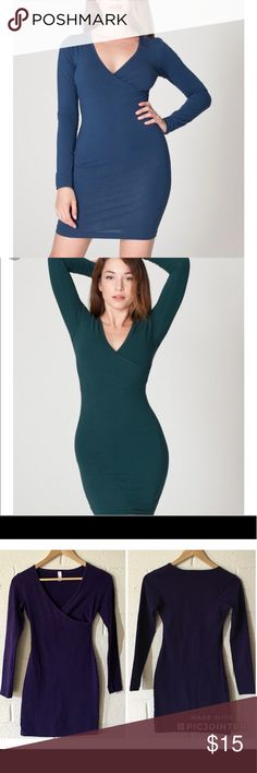 American Apparel Dresses American Apparel Cotton Jersey Spandex Dresses. Style: V-Neck/ Closed Back/ Long sleeve/ Pencil/ Mini. Sizes: Small. Color/ Condition: Eggplant- Great, Black- Great. *BUY 1, GET ONE 10% OFF* Listed price for individual dress* American Apparel Dresses Mini