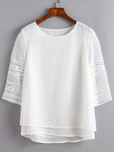 Shop White Lace Insert Hollow Out Overlay Blouse online. SheIn offers White Lace Insert Hollow Out Overlay Blouse & more to fit your fashionable needs. Lace Insert, Blouse Online, White Shop, Mode Inspiration, White Style, White Lace, White White, Chiffon Tops, Blouses For Women