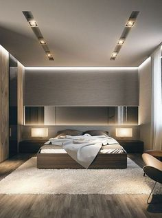 Modern Master Bedroom Ceiling Design Lovely the Light Fixtures Point towards the Back Of the Room and Modern Master Bedroom, Master Bedroom Design, Minimalist Bedroom, Contemporary Bedroom, Bedroom Designs, Modern Minimalist, Bedroom Black, Bedroom Green, Master Suite
