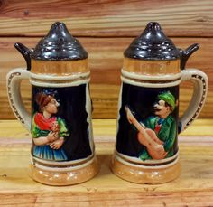 Stein Salt and Pepper Shakers by ArtMaxAntiques on Etsy