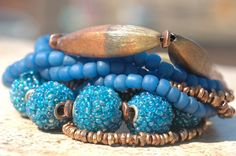 Exotic Multi-Strand Blue Glass and Copper Beaded Bracelet