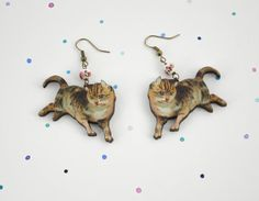 Kitten Earrings - cute little cat earrings, with japanese floral porcelain beads and bronze-tone ear wires, yay kittens!