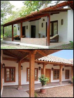 Home design spanish ideas Hacienda Style Homes, Spanish Style Homes, Spanish House, Village House Design, Village Houses, Style At Home, Mexico House, Indian Homes, Courtyard House