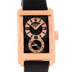 1f1018eab99 Rolex Cellini Prince Black Dial 18K Rose Gold Mens Watch 5442