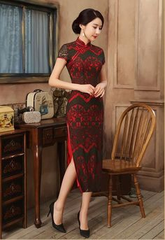 d8daa5425 2017 Red Chinese Women's Lace Dress Evening Long Cheong Sam 6-16 Chinese  Gown,