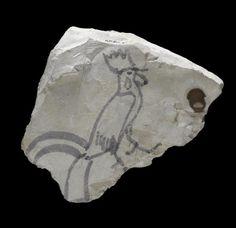 Одно из древнейших изображений символа наступающего года - остракон (обломок известняка) с образом петуха.  Из Долины царей. 12 в. до н.э.  Лондон, Британский музей EA68539