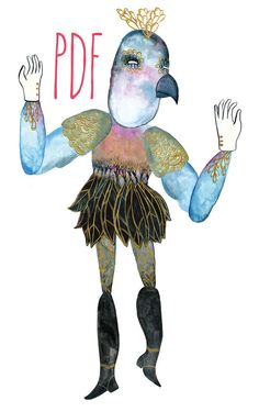 Blue Bird Dancing PDF Articulated Paper Doll / Hinged Beasts Series