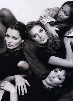 1994. Marie Claire UK. Models Kate Moss, Bridget Hall, Naomi Campbell and Christy Turlington.  Photo by Patrick Demarchelier (B1943)