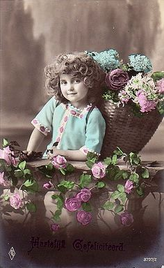 Vintage Postcard ~ Flower Girl | chicks57 | Flickr