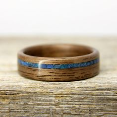 Wood Wedding Band Walnut Wooden Ring with by stoutwoodworks