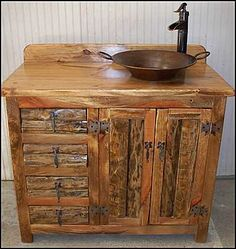 copper bath vanity   Rustic Bathroom Vanity: Split Log Vanity with Minor Pan Copper Sink ...