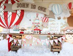 "Rustic Hot Air Ballon / Birthday ""Rustic 1st Hot Air Balloon"" | Catch My Party"