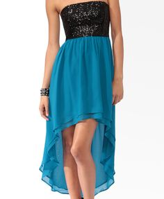Sequined top high-low dress.