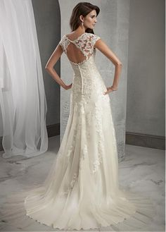 Buy discount Elegant Tulle Scoop Neckline Natural Waistline A-line Wedding Dress With Beaded Lace Appliques at Dressilyme.com