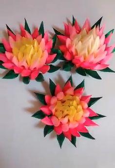 Amazing Ribbon Flower Work - Hand Embroidery Flowers Design - Sewing Hacks - Easy Flower Making - Nylon Flowers, Tissue Flowers, Paper Flowers Craft, Paper Crafts Origami, Felt Flowers, Diy Flowers, Fabric Flowers, Ribbon Art, Diy Ribbon