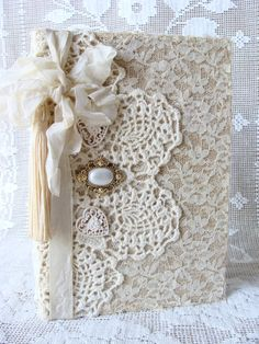 Lace and Vintage Doily Journal Notebook Diary Wedding Guestbook Bride Giftbook Baby Shower I Love You Theme
