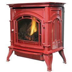 Ashley Hearth Products ft Single-Burner Vent-Free Natural Gas Stove at Lowe's. Classic cast iron styling and a beautiful red, high gloss, porcelain finish make this beautiful stove the perfect heating appliance for your living space. Propane Fireplace Indoor, Gas Stove Fireplace, Fireplace Ideas, Fireplace Seating, Cozy Fireplace, Fireplace Design, Natural Gas Stove, Natural Gas Fireplace, Us Stove Company