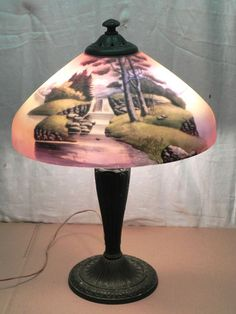 1cd800287ae Antique Victorian Table Lamp Light Fixture Waterfall Reverse Painted Shade  Glass