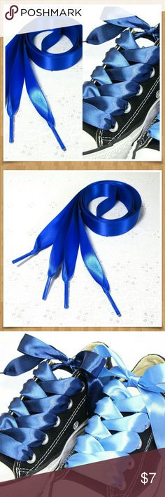 """Satin Shoelaces Royal Blue 46"""" Long Awesome satin shoelaces to fancy up those sneakers! 46"""" long works for most sneakers like low Converse or Vans. 3/4"""" wide satin ribbon laces. This pair is royal blue other colors available. Bundle 2 pair and offer $10 and I will accept and I will reduce the shipping cost for you! If you want a custom bundle made for you just let me know in the comments I will be happy to help. Accessories"""