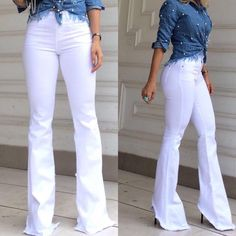 jeans e branco 70s Outfits, Trendy Outfits, Cute Outfits, Fashion Outfits, Flare Jeans Outfit, White Jeans Outfit, Classy Casual, Weekend Wear, Women's Summer Fashion