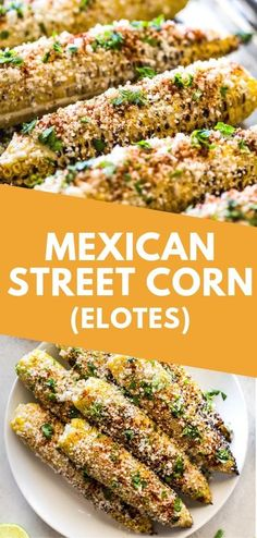 Authentic Mexican Street Corn (Elotes) is corn on the cob covered in creamy mayo and topped with cilantro lime juice Cotija cheese and chili powder. Grilled steamed or boiled it's a perfectly easy Mexican summer side dish! Authentic Mexican Recipes, Mexican Food Recipes, Gourmet Recipes, Healthy Recipes, Mexican Desserts, Freezer Recipes, Queso Cotija, Cotija Cheese, Power Salat
