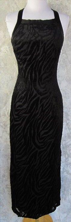 CDC Dress Size 4 Black Velvet Animal Stripe Halter Back Zip Back Strap Detail #CDC #WigglePencil #Formal