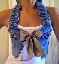 Repurposed jeans into couture vest