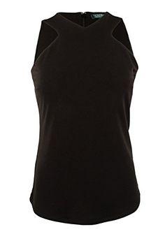 Lauren Ralph Lauren Womens V Neck V Shoulder Tank Shirt L Black -- Details can be found by clicking on the image.
