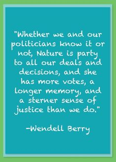 Wendell Berry Nature Quote.   His words are well worth reading & considering.