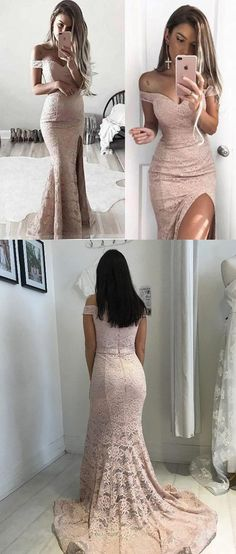 Skin Pink /Nude Lace Mermaid Off the Shoulder Front Split Long Prom Dresses Evening Party Dress LD893 #mermaiddress #lacepromdress #nudepromdresses #offtheshoulder #promdress #eveningdress