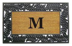 NEDIA Enterprises Monogrammed Olive Border Rubber Coir Welcome Mat | seattleluxe.com