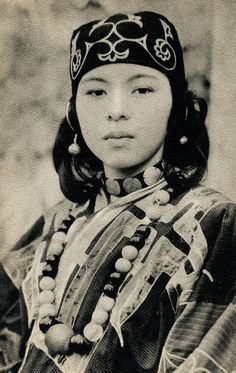 Ainu woman in traditionnal dress Hokkaido, Japan - 1910s