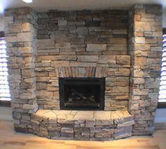 stone fireplace | Stone Fireplace With Ashlar Pattern