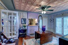 The Reception Room at #WinterwoodatPetersham, where guests gather to grab a before-dinner cocktail. Note the intricate tin ceiling. #Bedandbreakfastforsale http://www.19northmainstreet.com