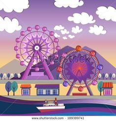 Vector illustration of City amusement park - stock vector
