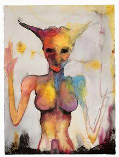 Baphometh, 2006. Watercolor, 30 x 22 in. Marilyn Manson