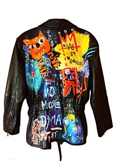 Next  Inspired by the great art genius & 80's cool kid, Jean-Michel Basquiat. This is a completely different piece that will make a statement anywhere it goes.   www.mart-productions.com  Haindpainted One of a Kind Piece  Genuine Vintage Leather Jacket
