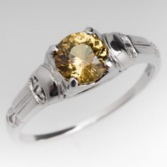 Vintage 1 Carat Greenish Yellow Sapphire Ring 18K