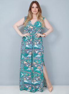 Vestido Longo em Chiffon Étnico com Fenda Best Size - Loja Virtual de Moda Plus Size