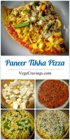 Pizza Indian style pizza topped with Paneer Tikka mixture, veggies, cheese and baked to golden crispy perfection.Indian style pizza topped with Paneer Tikka mixture, veggies, cheese and baked to golden crispy perfection. Vegetarian Pizza Recipe, Vegetarian Snacks, Pizza Recipes, Cooking Recipes, Snacks Recipes, Yummy Snacks, Veggie Recipes, Vegan Food, Food Food