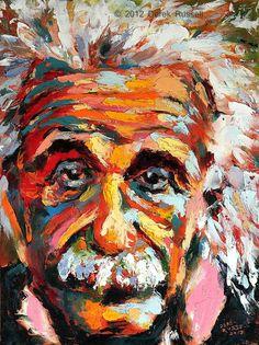 Albert Einstein Original Fine Art Oil Painting by Artist Derek Russell