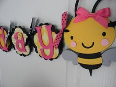 Bumble Bee Birthday Party Happy BEEday Banner Yellow Black and PINK. $32.00, via Etsy.