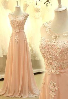 On Sale Comfortable Sleeveless Prom Dresses, Pink Sleeveless Prom Dresses,Modest Blush Pink Pretty Long Lace Cap Sleeves Prom Dresses #promdresseslong #lacepromdresses #prettydresses #eveningdresses