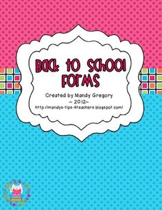 Owl Themed Back to School Parent Forms$2